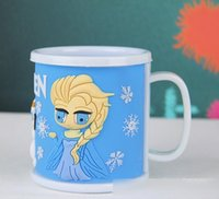 Wholesale In Stock Froze Children s Day Gift Plastic Cups Kids Present Elsa Anna Olaf PVC Outside Drinkware Kitchen Home Childs Snow Queen Cup H1823