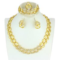 Wholesale 2016 High quality Fashion Dubai Gold Jewelry African K gold plated Buckle chain jewellery Crystal bridal wedding jewelry sets