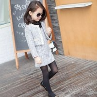 baby girl clothing sets - Girls Baby Childrens Woolen Outfits Sets Kids Clothes New Atumn Winter Cardigan Coat and Dress Sets ZZ