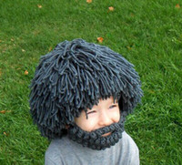 baby fitted hats - Baby Wig Beard Hats Hobo Mad Scientist Rasta Caveman Handmade Knit Warm Winter Caps Children Christmas Gift Funny Party Mask Beanies