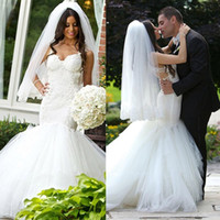 Wholesale New Arrival Mermaid Wedding Dresses Spaghetti straps Lace Appliques Beads Wedding Gowns Custom Made Bridal Gowns