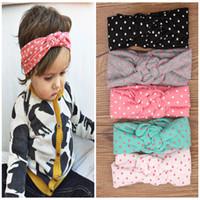 dot ribbon - 5 colors Baby Kids Knot Headbands Braided Headwrap Polka Dot Cross Knot Baby Turban Tie Knot Head wrap Children s Hair Accessories B237