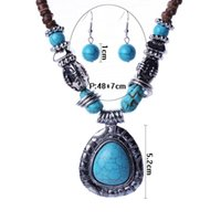 acrylic malaysia - Fashion Tibetan Style Jewelry Set Malaysia Imports Natural Coconut Shell Vintage Silver Turquoise Necklaces Earring Sets TL95461