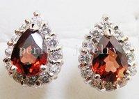 Wholesale Garnet stud earring Natural real garnet earrings sterling silver Fine jewelry Perfect Jewelry DH