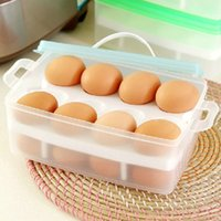 egg container - Kitchen Necessary Egg Storage Box Portable Two Layers Egg Containers Egg Refrigerator Crisper Storage Bins