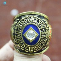 angeles anniversary rings - Angeles Dodgers World Series championship rings Enamal Crystal Rhinestone gold Pleated Ring Men Jewelry