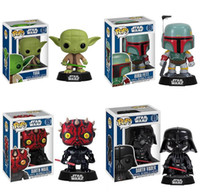 Wholesale Star Wars Toys Darth Vader Yoda Boba Fett POP Star Wars cm Jedi Knight Vinyl Bobble Head PVC Action Figure Toy Styles