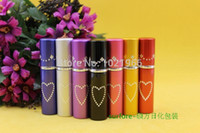 aluminium bottle caps - 5ml Heart Aluminum Perfume Bottles With Spray Atomizer For Travel Aluminium Cap Bottle Atomizer Perfume