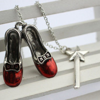 adventure necklace - Alice Adventures in Wonderland necklace alloy red shoes star Magic Wand charm Pendants necklaces women statement jewelry Film jewelry