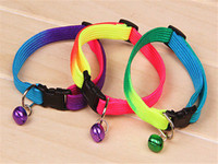 adjustable pet harness - 1pcs Rainbow Dog Cat Bell Collar Adjustable Outdoor Comfortable Pet Collars For Small Dogs Puppies Pets Collars