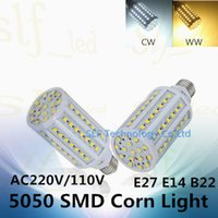 Wholesale Ultra Bright SMD5050 E27 E14 B22 LED lamp V V W W W W W W W W LED Corn Bulb
