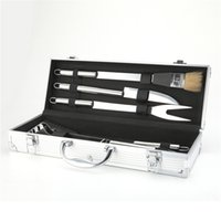 bbq grilling sets - BBQ Deluxe Durable Stainless Steel Roasting Grill Set with Aluminum Storage Case perfect for picnics
