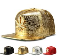 Wholesale 2015 Ball Caps Gold WEED Gold Leather Snapback Hats Strapback womens mens leather caps baseball caps hiphop cap