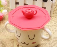 silicone cup lid - Hot sale Fashion Teapot shape silicone lid novelty cup decoration W1133