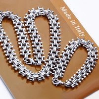 Wholesale High quality heavy g sterling silver jewelry set LS new chain silver necklace bracelet set mix order
