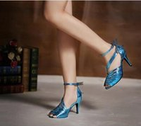 Cheap New autumn women blue stiletto shoes with soft bottom square Latin is just the belly dancing shoes
