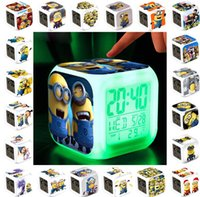 Wholesale LED Colors Change Kids Digital Alarm Clock Cartoon Minions Despicable Me Thermometer Night light Toys Led digital Clock