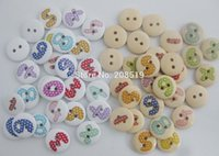 arabic baby clothes - WBNWSN Baby clothes buttons mm Round wood button Printed Arabic Number Decorative crafts accessories