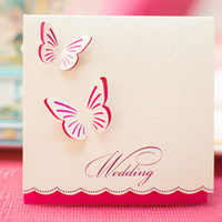 Wholesale 50 Wedding Invitations Butterfly Style Fancy Design Invitation Card Folded Champagne Color Free Customized and Printing