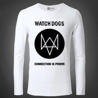 action shirt - New Arrivals Watch Dogs Sci fi Games Men T Shirts Connection Is Power Action Adventure Games Tight Long Sleeved Male T Shirt