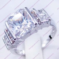 10kt gold jewelry - Size Men s Finger Ring White Sapphire KT White Gold Filled Rings Fashion Jewelry HOT C1375