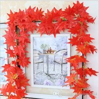 Wholesale 12pcs Artificial Fall Maple Leaf Garland Silk Vine Wedding Garden Decor colors