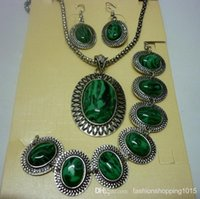 american jobs - top quality natural malachite stone carved Job tribal lady s retro vintage silver earrings necklace bracelet sets