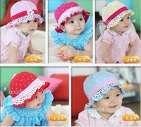 Cheap Korean New Arrive cap infant flower lace caps hat baby sun hat baby bucket hats child hat Free Shipping