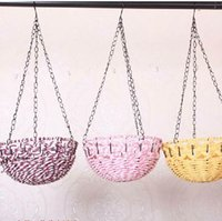 Wholesale Artificial flowers decorative basket garden flower hanging baskets hanging baskets wrought iron frame round special hot sale