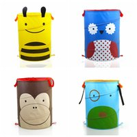 baskets - cartoon folding oxford fabric Bucket Earmuffs dirty Clothes Clothing Toy basket Organizer Sundries Foldable Storage bucket