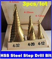Wholesale 3Pcs mm mm mm HSS Steel Step Drill Bit Bits Tool Set For Wood Steel Triangle Handle metric measures hight quality
