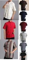 Wholesale colorsMen summer short sleeves meditation shirts male kung futai chi uniform traditional Tang suits martial arts clothes