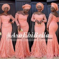 africa fabrics - Nigerian Laces Fabrics Peach Pink Mermaid Evening Dresses Off shoulder Full length Long Sleeve Prom Dress South Africa