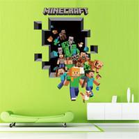 Wholesale 2015 New Minecraft Wall Stickers Creeper Enderman Wallpaper D Decorative Wall Decals Wallpaper Party Decorations Décor cartoon wall paper