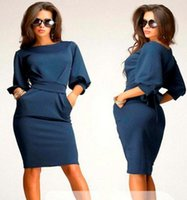 belted shift dress - Womens clothing ladies fitted slim bowknot belt ruffles bodycon pencil shift dress Formal Prom Cocktail Ball Evening Party Dress