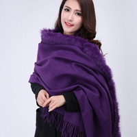 Wholesale The New Autumn and Winter Thick Warm Rabbit Fur Scarves Wool Shawl Air conditioned Room Banquet Shawl Colors