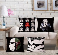 black pillow cases - 9 STYLES Star Wars pillow covers Yoda Black Warrior impire soldiers superhero Justice League movie cotton linen case