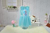 Wholesale Fashion New Girls Frozen Dress Big Children girl Frozen Princess Elsa Dress Children Cartoon Dress girls holiday dress