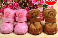 Wholesale 4pcs Set Pet Dog Shoes Cotton Warm pet shoes dog cotton shoes water proof warm winter dog shoes colors sizes
