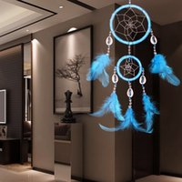 Wholesale Handmade Dream Catcher Circles Net with Feathers Wall or Car Hanging Ornament for Home Decorating