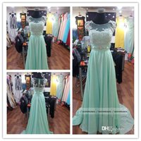 Rhinestones prom dresses with sleeves - Real Beautiful Chiffon Prom Dress Mint Lace Scoop Cap Sleeves Full Back A line Evening Gowns with Beaded
