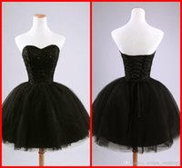 Cheap Sexy Cheap Sweetheart Sequins Homecoming Dresses Black Beads Tulle Ball Gown Party Dresses Short Mini Cocktail Dresses