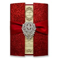 pocket pc - 50 Luxury Shiny Red Wedding Invitation Cards Chinese Red Wedding Invitation Pocket Set of