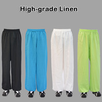 Wholesale High grade Linen Wudang tai chi pants kung fu martial arts Yoga practice performance trousers morning exercise for men women