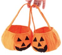 Wholesale Halloween Props Pumpkin Nonwoven Accessories Barrels Halloween Pumpkin Candy Bag Handbag Happy Halloween
