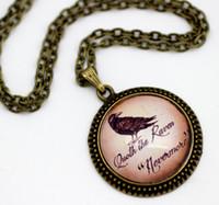 american raven - 10pcs Edgar Allan Poe Raven Nevermore Gothic Vintage Halloween Necklace Glass Cabochon Necklace