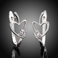 Wholesale jewelry wholesa Beautiful Heart CZ Crystal Earrings High Quality silver plated earrings fashion jewelry LE603