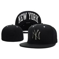 fitted hats - Black Snapbacks Yankees Baseball Hats Fitted Snap Back Caps To Quality Flat Hat Cool Sports Caps Casual Trucker Hat Fashion Outdoor Headwear