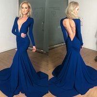 plain jersey - Sexy Simple Navy Blue Plain Ruched Evening Dresses Long Sleeves Cut Out Backless Sexy Maxi Prom Dresses New Arrival HF PD02