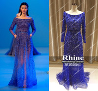 Reference Images elie saab - 2014 Rhine New Summer Real Image Blue Beaded Elie Saab Show Hollow Sexy Formal Dresses Evening Dresses